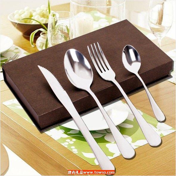棕色盒1010不锈钢餐具刀叉四件套套装