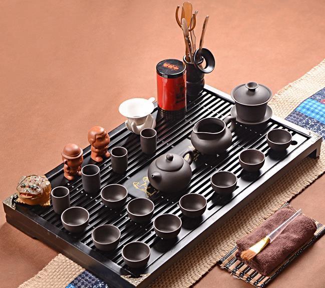 整套宜兴紫砂 陶瓷冰裂功夫茶具实木茶盘套装