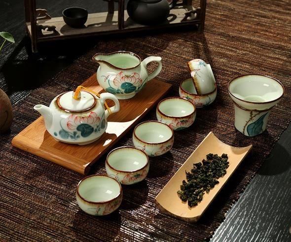 景德镇 盖碗荷花手绘钧窑青瓷青花瓷整套办公室功夫茶具陶瓷套装