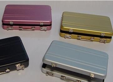 创意定制生活商务礼品高档密码保险箱造型铝质名片夹手提箱名片盒