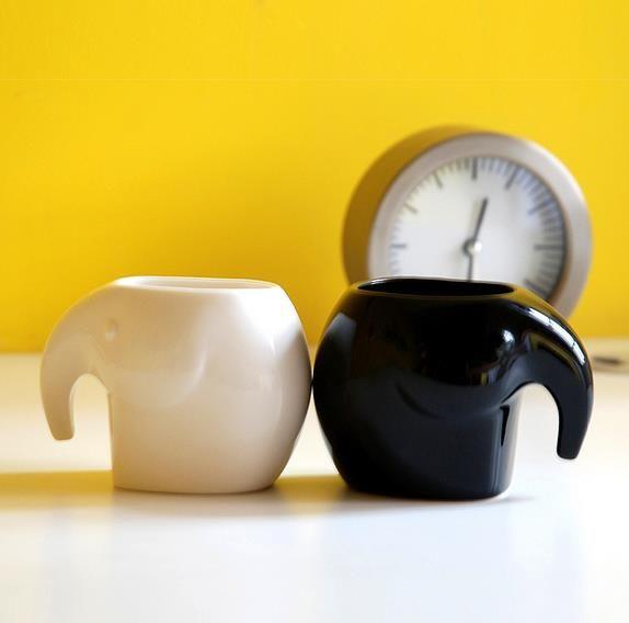 象样生活家庭套杯 大象陶瓷马克水杯套装 卡通动物杯创意家居礼品
