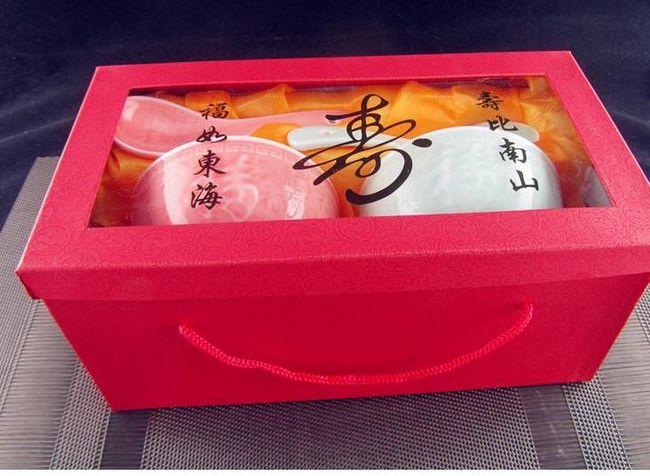 4.25寸清水釉浮雕直口福碗(含礼盒)