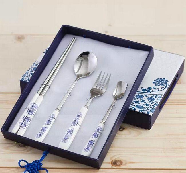 青花瓷餐具四件套 陶瓷不锈钢筷勺八件套