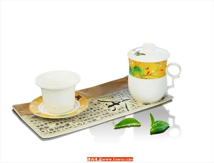 富贵花碟艺术茶具套装(同心杯)