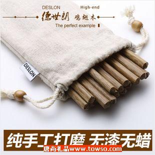 德世朗正品天然环保鸡翅木筷子红原木筷子无漆无蜡无油10双装
