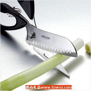 德世朗优质不锈钢厨房剪鸡骨剪菜刀削皮刨多功能文武剪刀J002