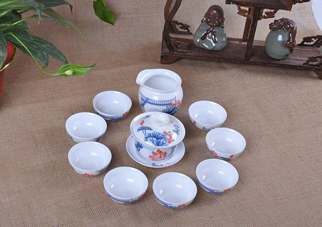 整套高档青花陶瓷功夫礼品茶具套装