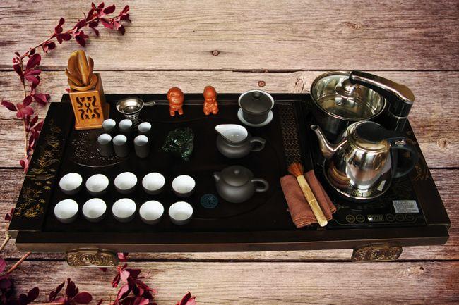 紫砂功夫茶具套装 四合一电磁炉茶盘茶具套装