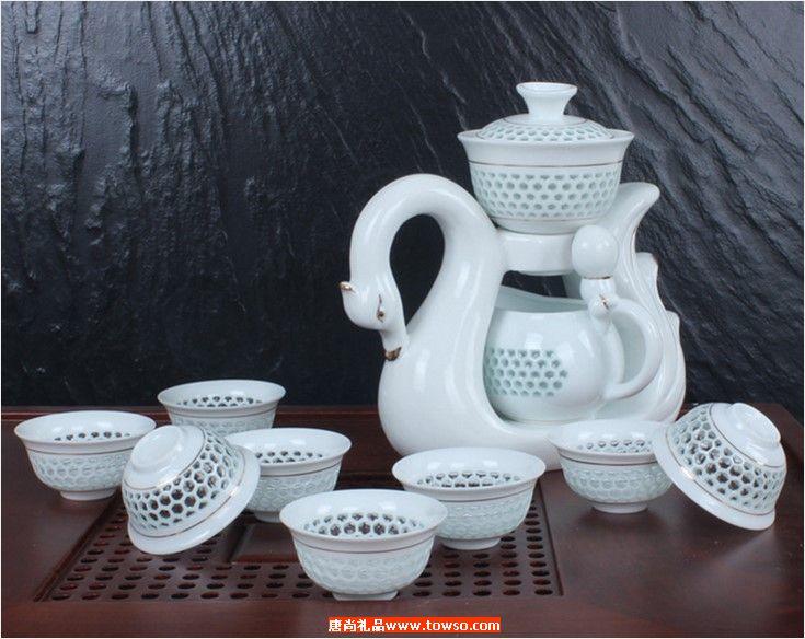天鹅玲珑镂茶具