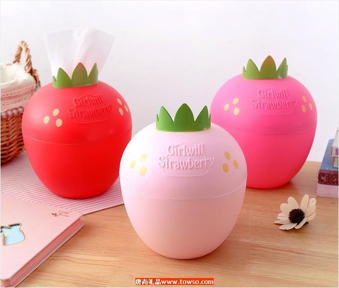 草莓季糖果色卷筒纸巾抽 A328圆形纸巾筒
