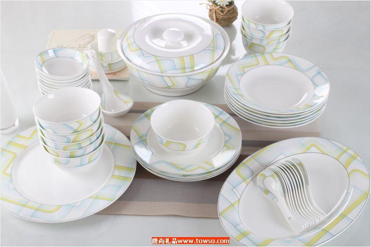 多彩迷宫 齐全头56头餐具套装 骨瓷餐具碗盘子调味碟汤勺