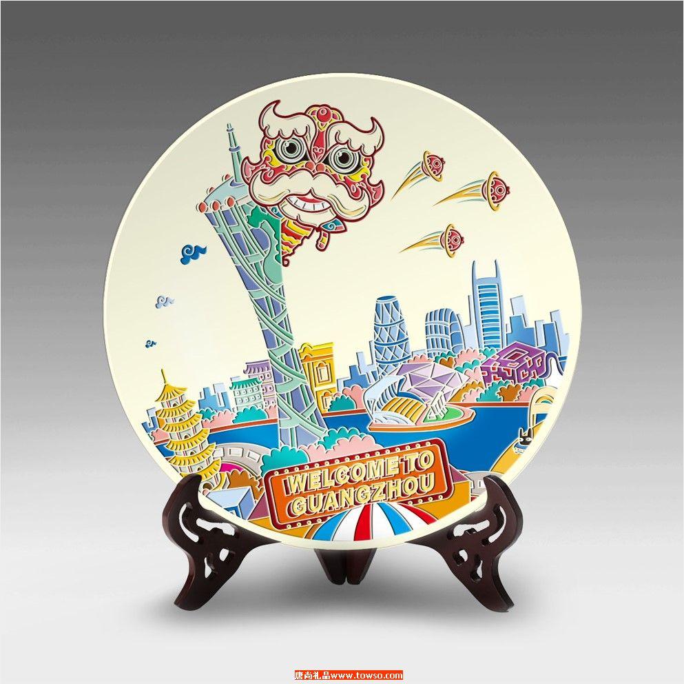 欢迎来到广州 welcom to guangzhou 城市元素玻璃摆盘