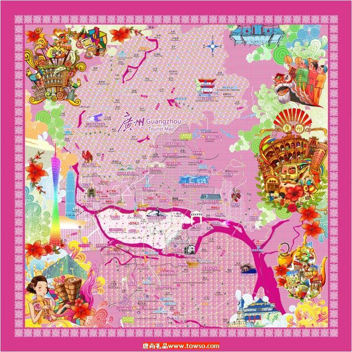 广州地图丝巾