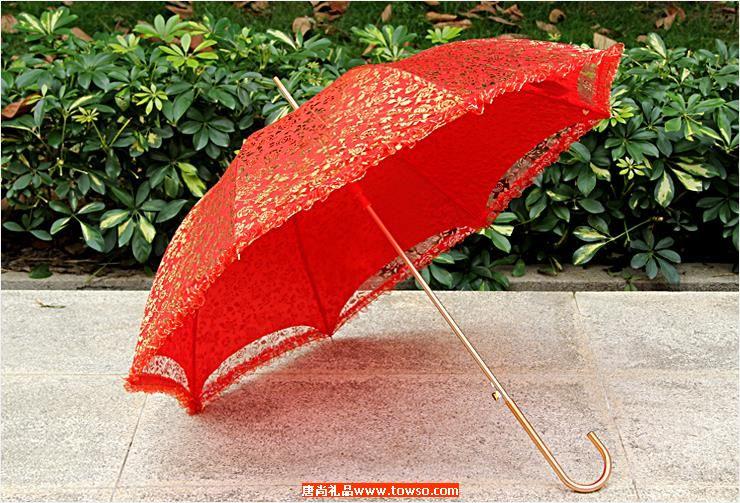 婚庆大红色伞新娘伞23寸金钩超轻雨伞直杆蕾丝烫金新娘伞