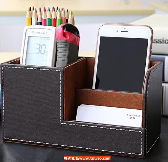 皮革创意时尚多功能桌面笔筒
