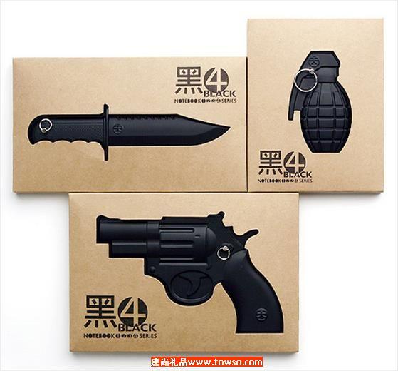 创意办公礼品 个性黑色枪火笔记本记事本 超酷黑4复古武器笔记本